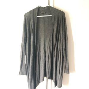 Zara Asymmetric thin cardigan sweater in dark gray